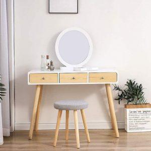 Meuble coiffeuse design blanche et bois