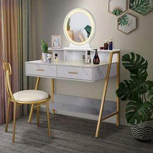 meuble coiffeuse blanche avec plante et miroir