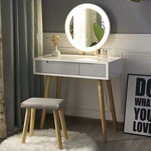 coiffeuse miroir led bois