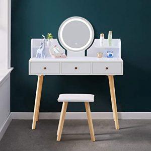 coiffeuse miroir led blanche