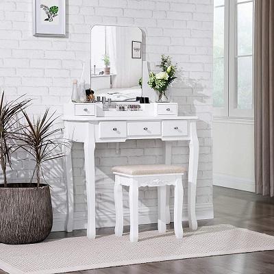 Coiffeuse meuble vasagle rdt25wt décorée