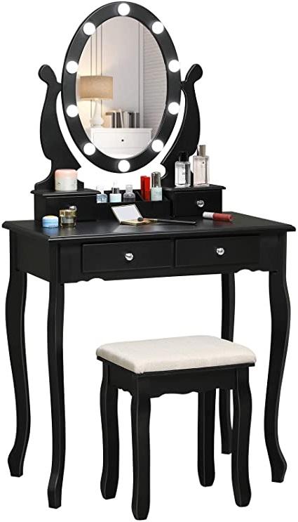 grande coiffeuse noire avec miroir led